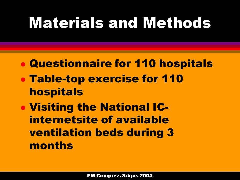 EM Congress Sitges 2003 Materials and Methods l Questionnaire for 110 hospitals l Table-top exercise for 110 hospitals l Visiting the National IC- internetsite of available ventilation beds during 3 months