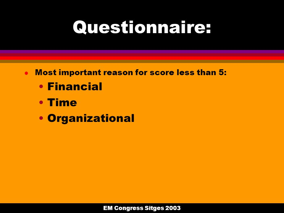 EM Congress Sitges 2003 Questionnaire: l Most important reason for score less than 5: Financial Time Organizational