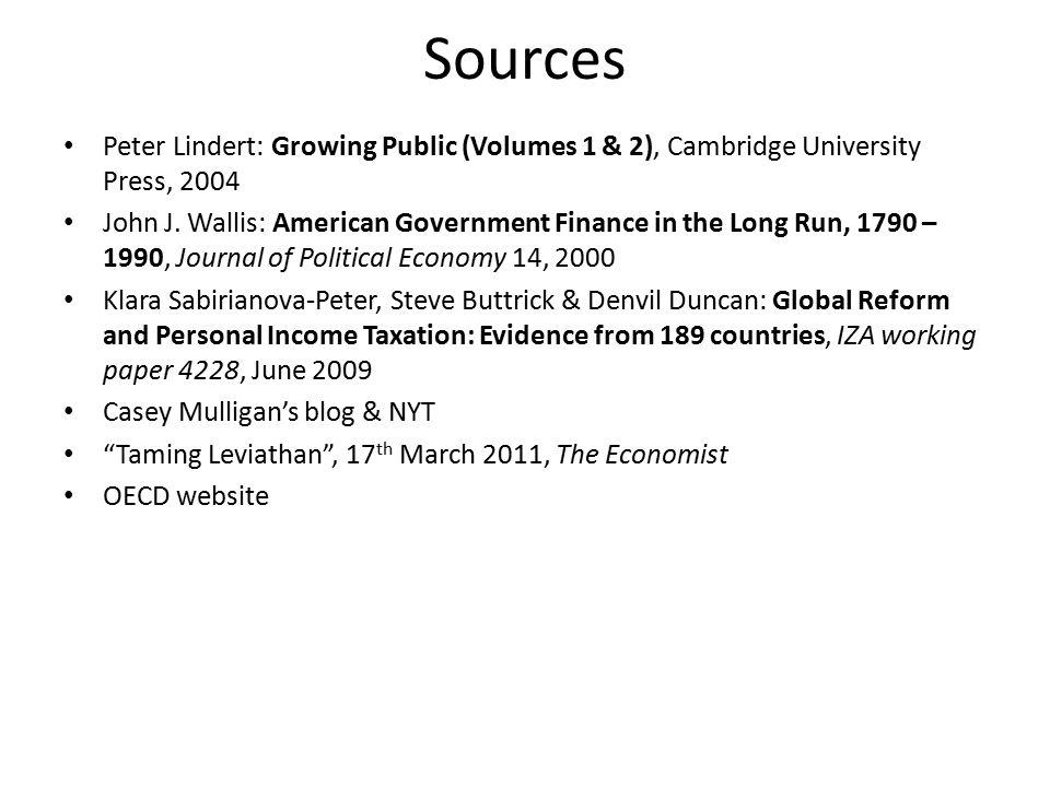 Sources Peter Lindert: Growing Public (Volumes 1 & 2), Cambridge University Press, 2004 John J. Wallis: American Government Finance in the Long Run, 1
