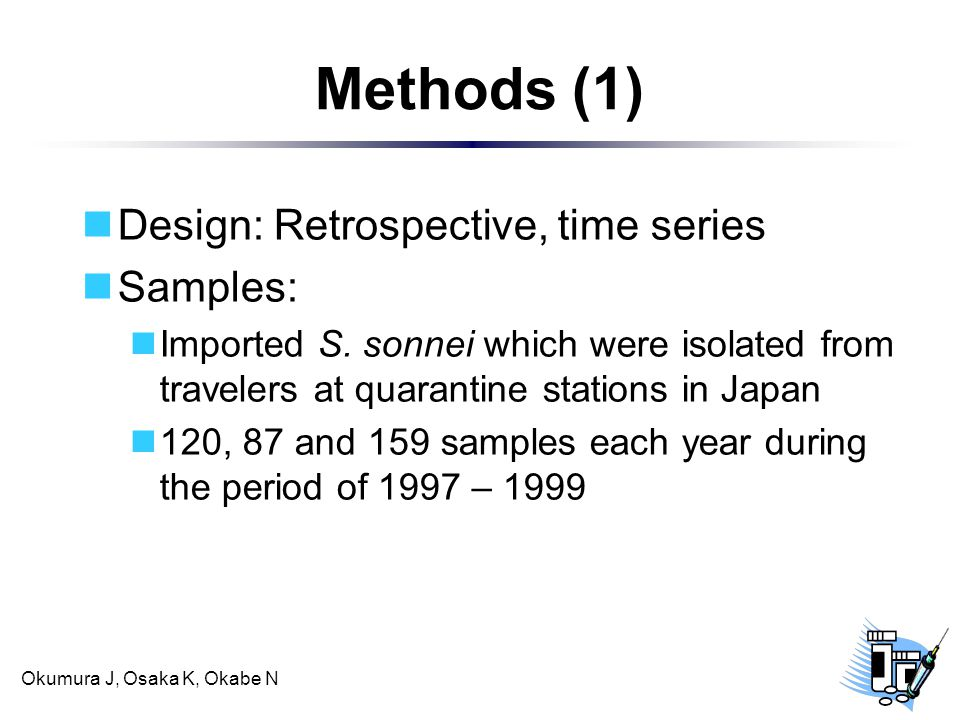 Okumura J, Osaka K, Okabe N Methods (1) Design: Retrospective, time series Samples: Imported S.