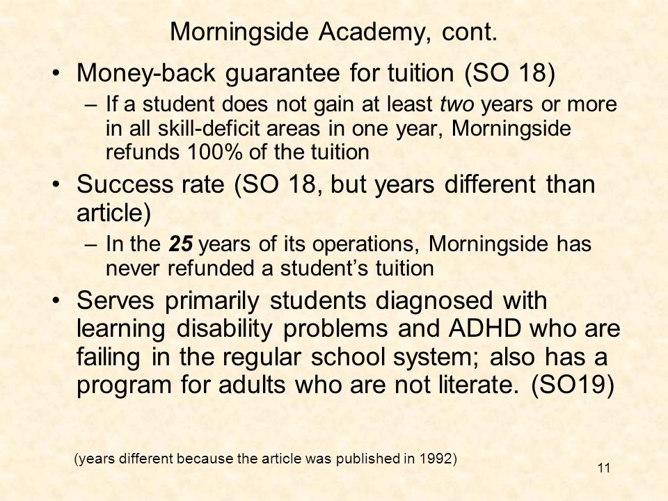 11 Morningside Academy, cont.