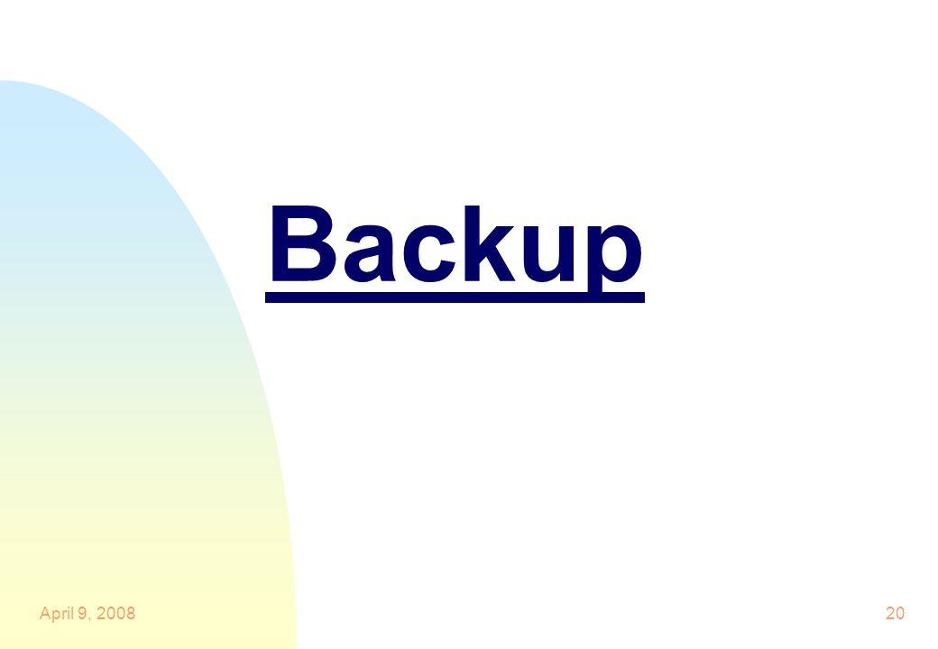20 Backup April 9, 2008