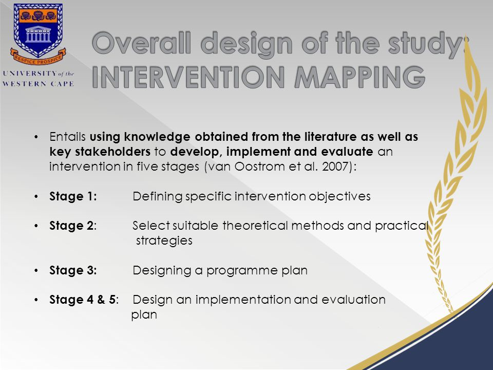 Entails using knowledge obtained from the literature as well as key stakeholders to develop, implement and evaluate an intervention in five stages (van Oostrom et al.