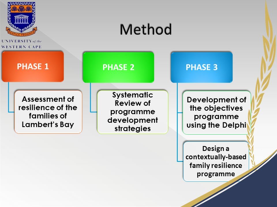 PHASE 1 Assessment of resilience of the families of Lambert's Bay PHASE 2 Systematic Review of programme development strategies PHASE 3 Development of the objectives programme using the Delphi Design a contextually-based family resilience programme