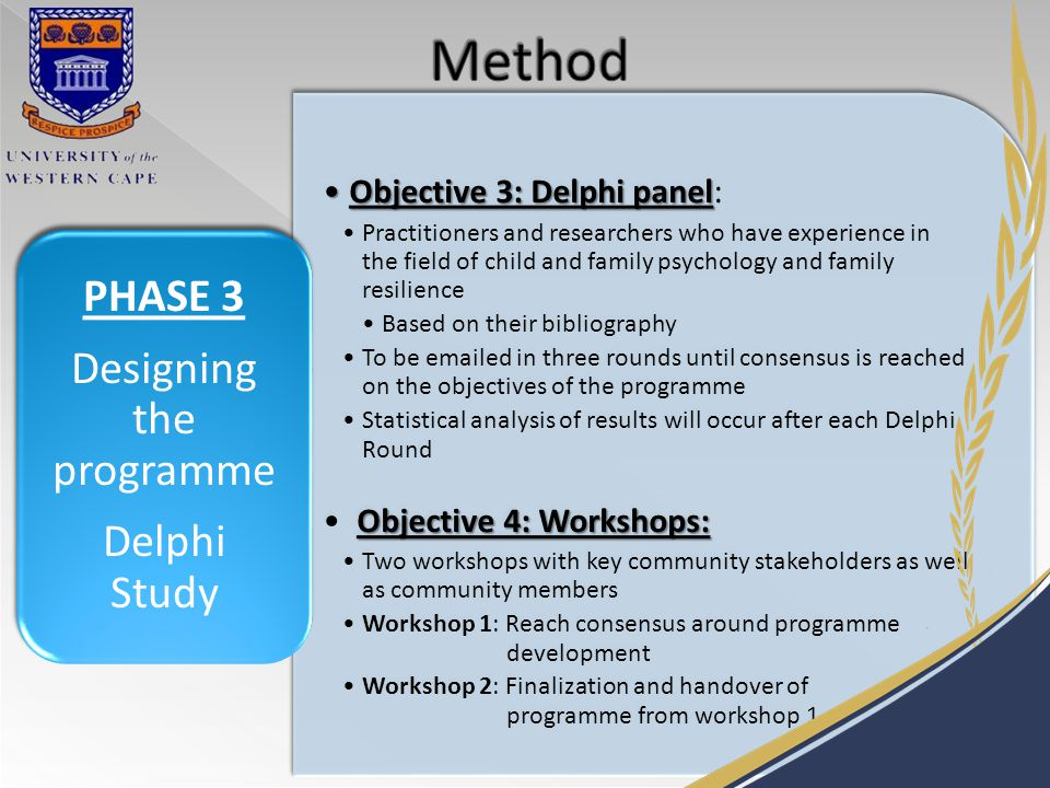 Objective 3: Delphi panelObjective 3: Delphi panel: Practitioners and researchers who have experience in the field of child and family psychology and family resilience Based on their bibliography To be emailed in three rounds until consensus is reached on the objectives of the programme Statistical analysis of results will occur after each Delphi Round Objective 4: Workshops: Two workshops with key community stakeholders as well as community members Workshop 1: Reach consensus around programme development Workshop 2: Finalization and handover of programme from workshop 1.