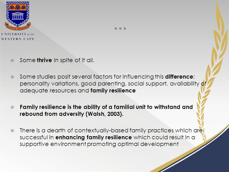  The promotion and strengthening of family l ife is central to the overall stability and general wellbeing of South Africa and is linked to National Development Goals (DSD, 2013)  How are these challenges addressed.