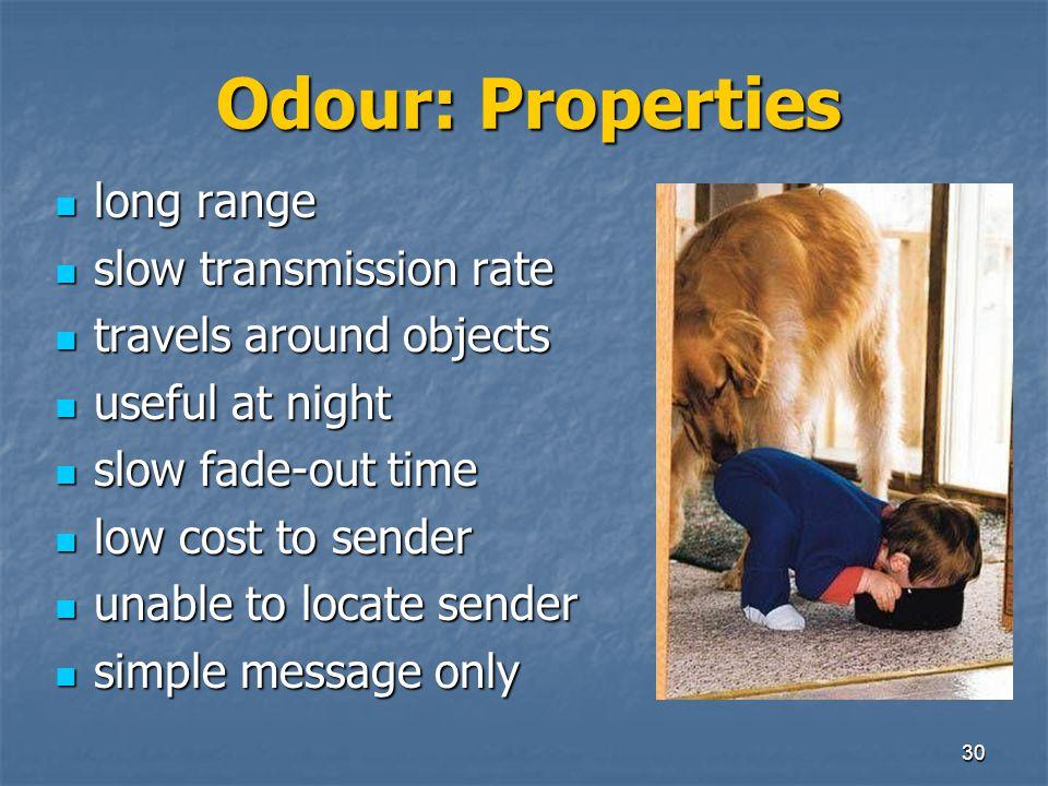 29 Odour Pheromones often present in urine of mammals (& anal glands) Pheromones often present in urine of mammals (& anal glands) Two types: Two type