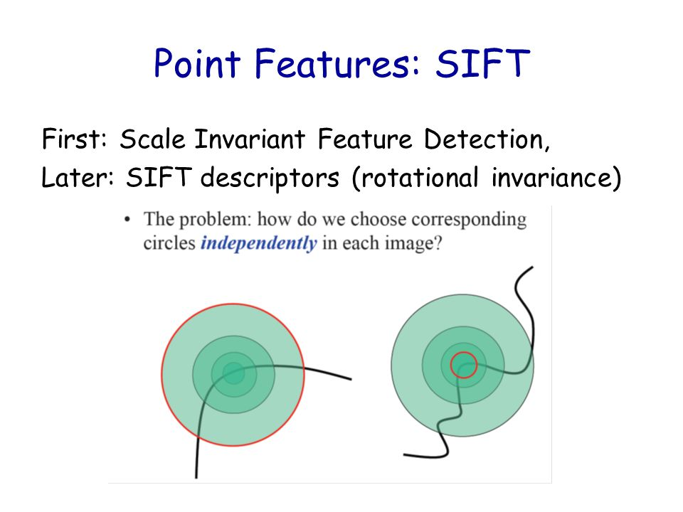 Point Features: SIFT First: Scale Invariant Feature Detection, Later: SIFT descriptors (rotational invariance)