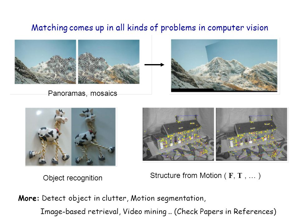 Matching comes up in all kinds of problems in computer vision Panoramas, mosaics Object recognition Structure from Motion ( F, T, … ) More: Detect obj