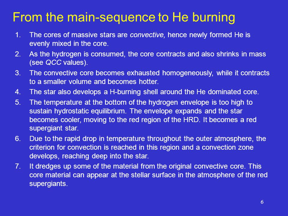 6 From the main-sequence to He burning 1.The cores of massive stars are convective, hence newly formed He is evenly mixed in the core. 2.As the hydrog