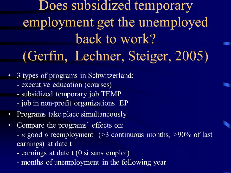 Essays Huber, Lechner, Wunsch and Walter, 2009, « Do german welfare-to-work programmes reduce welfare and increase work », IZA Discussion Paper No.