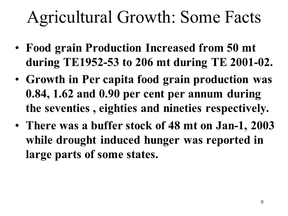 9 Agricultural Growth: Some Facts Food grain Production Increased from 50 mt during TE1952-53 to 206 mt during TE 2001-02.