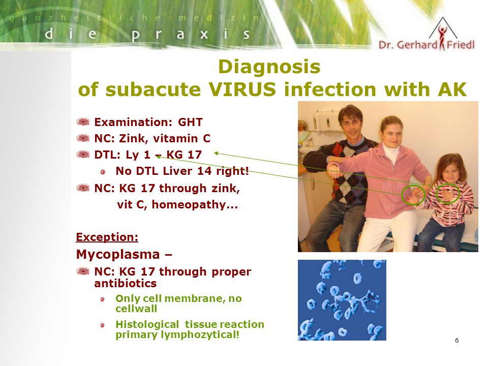 6 Diagnosis of subacute VIRUS infection with AK Examination: GHT NC: Zink, vitamin C DTL: Ly 1 – KG 17 No DTL Liver 14 right.