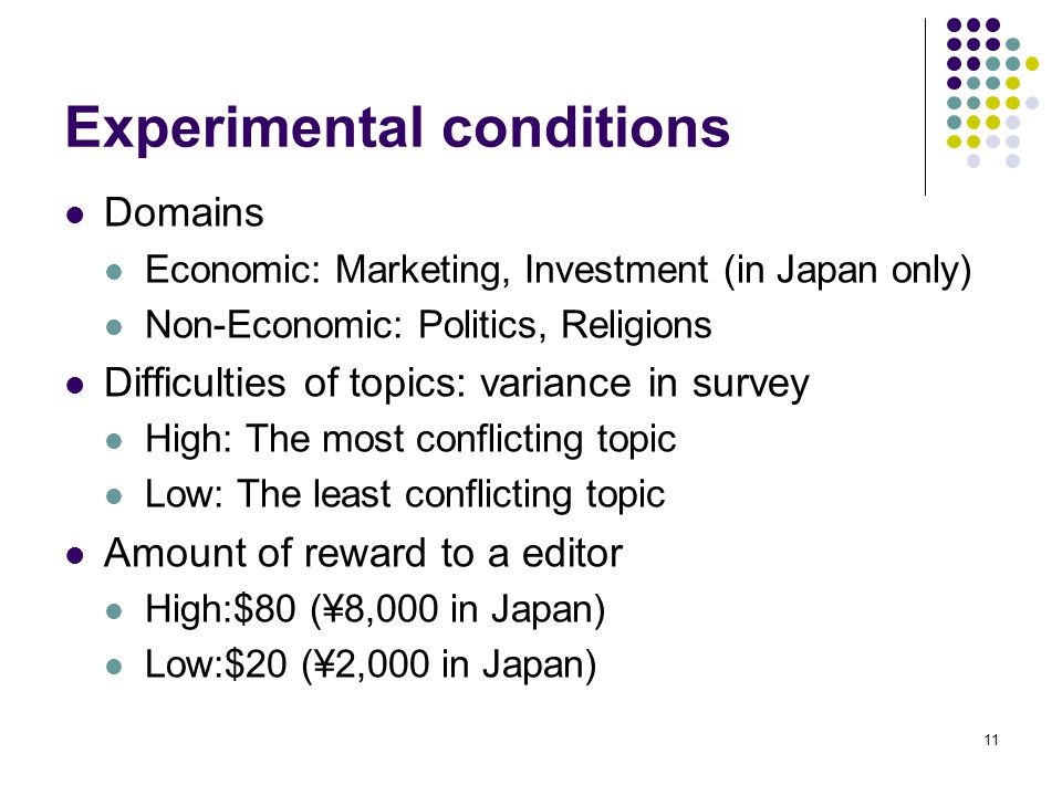 11 Experimental conditions Domains Economic: Marketing, Investment (in Japan only) Non-Economic: Politics, Religions Difficulties of topics: variance in survey High: The most conflicting topic Low: The least conflicting topic Amount of reward to a editor High:$80 (¥8,000 in Japan) Low:$20 (¥2,000 in Japan)