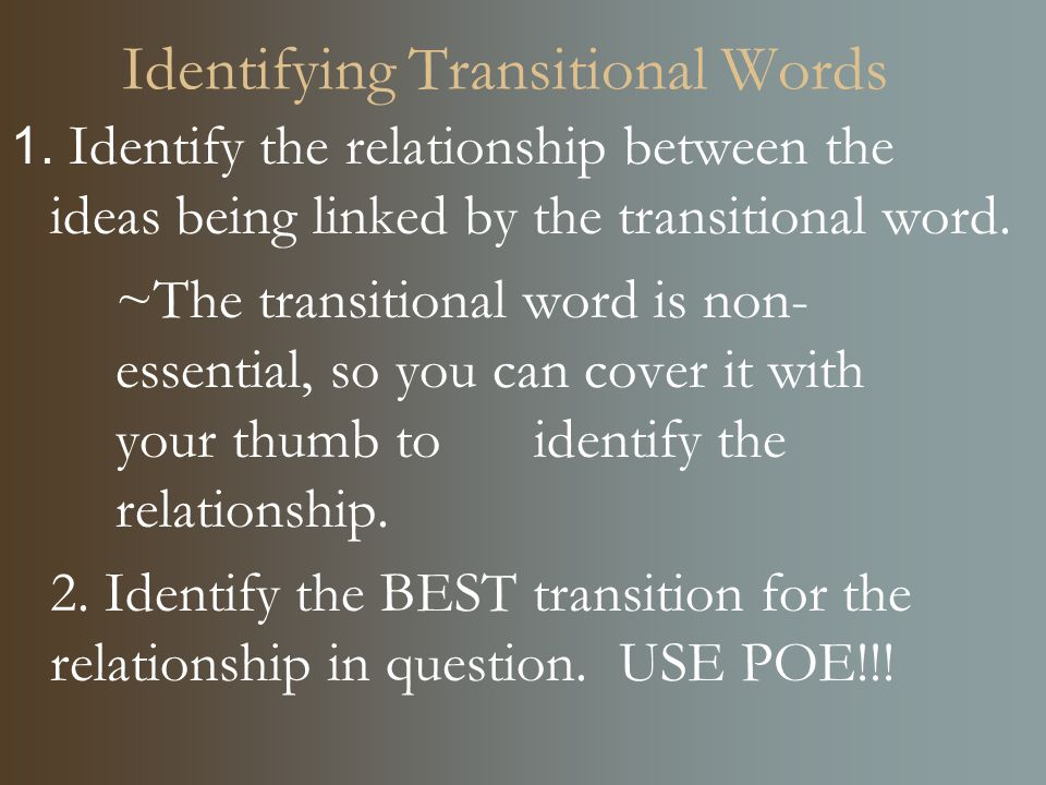 transition word for process essay
