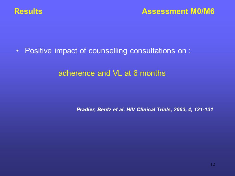 12 Results Assessment M0/M6 Positive impact of counselling consultations on : adherence and VL at 6 months Pradier, Bentz et al, HIV Clinical Trials, 2003, 4, 121-131