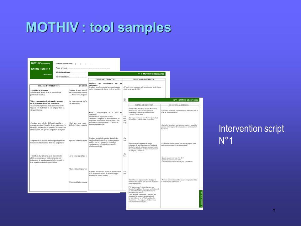 7 MOTHIV : tool samples Intervention script N°1