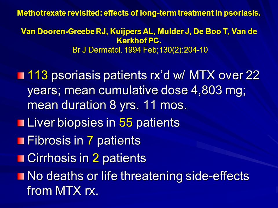 Methotrexate revisited: effects of long-term treatment in psoriasis.