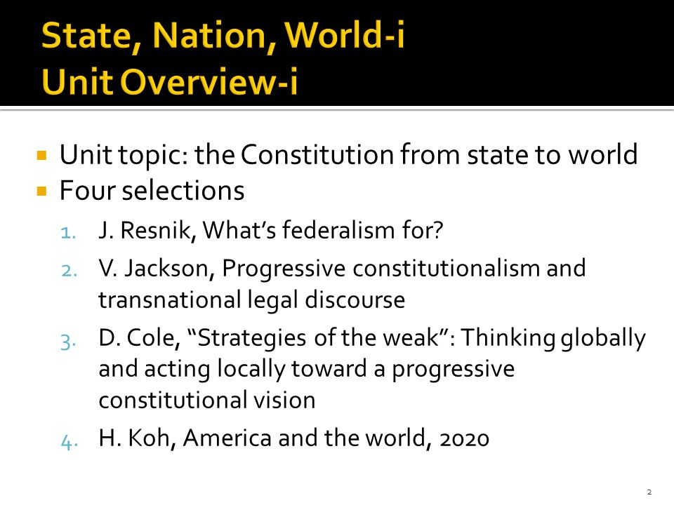  Progressives should support appropriate references to foreign law for three reasons:  Better to know more than to know less  Originalism is less useful for constitutional development than knowledge about foreign law  Need to promote judiciary s adjudicatory independence 13