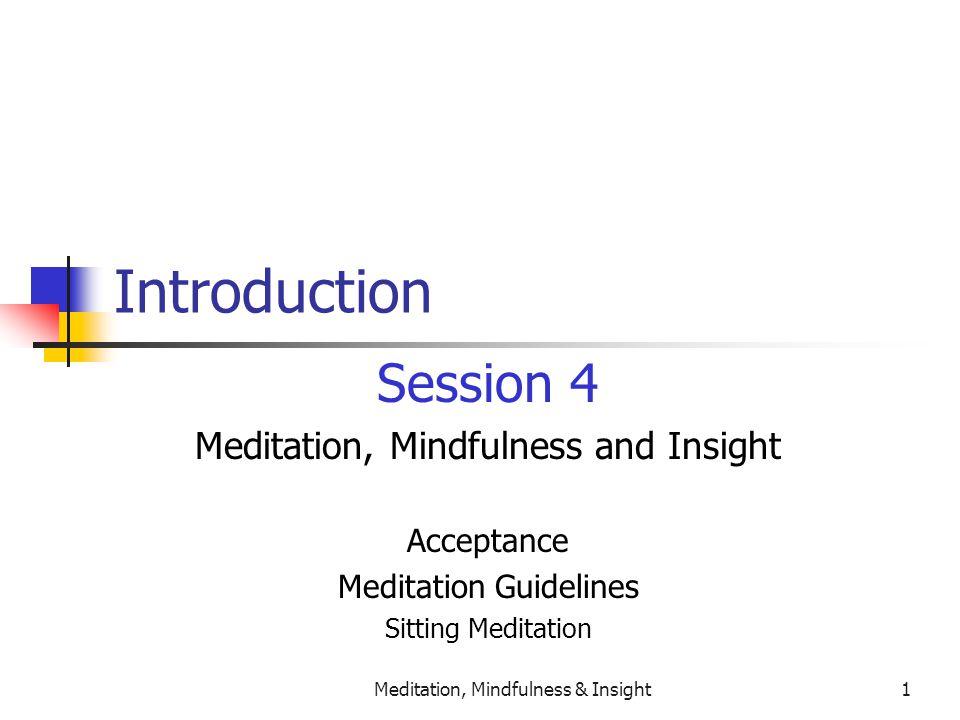 Meditation, Mindfulness & Insight1 Introduction Session 4 Meditation, Mindfulness and Insight Acceptance Meditation Guidelines Sitting Meditation