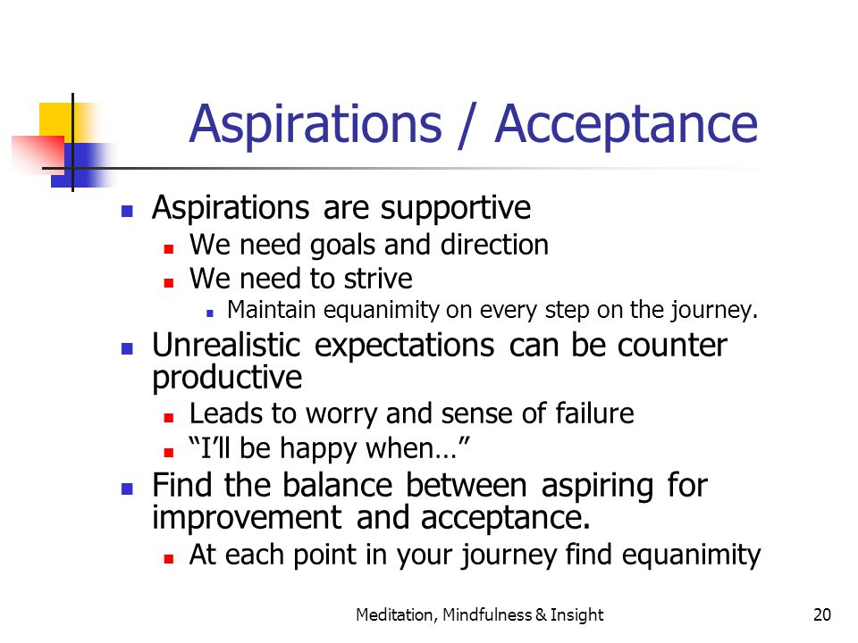 Meditation, Mindfulness & Insight20 Aspirations / Acceptance Aspirations are supportive We need goals and direction We need to strive Maintain equanimity on every step on the journey.