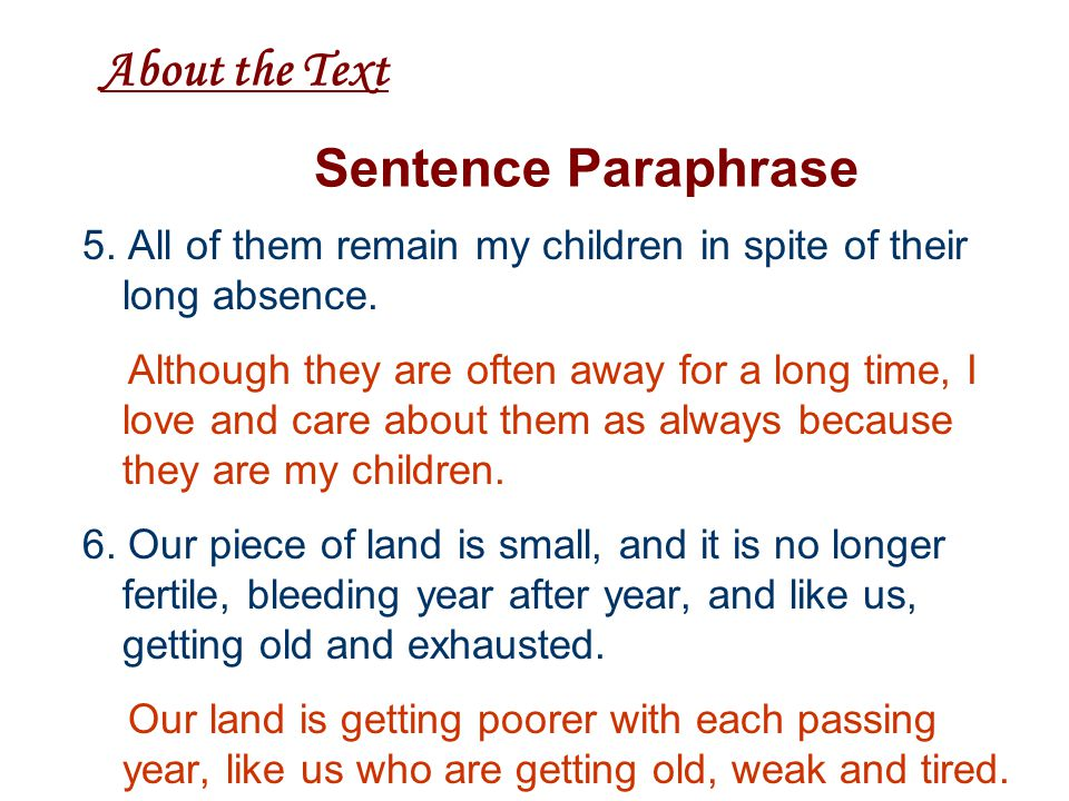 About the Text Sentence Paraphrase 5.