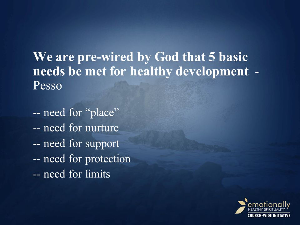 We are pre-wired by God that 5 basic needs be met for healthy development - Pesso -- need for place -- need for nurture -- need for support -- need for protection -- need for limits