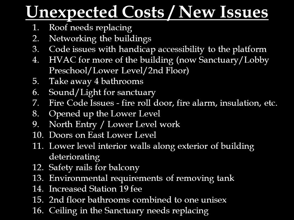 Unexpected Costs / New Issues 1.Roof needs replacing 2.Networking the buildings 3.Code issues with handicap accessibility to the platform 4.HVAC for more of the building (now Sanctuary/Lobby Preschool/Lower Level/2nd Floor) 5.Take away 4 bathrooms 6.Sound/Light for sanctuary 7.Fire Code Issues - fire roll door, fire alarm, insulation, etc.