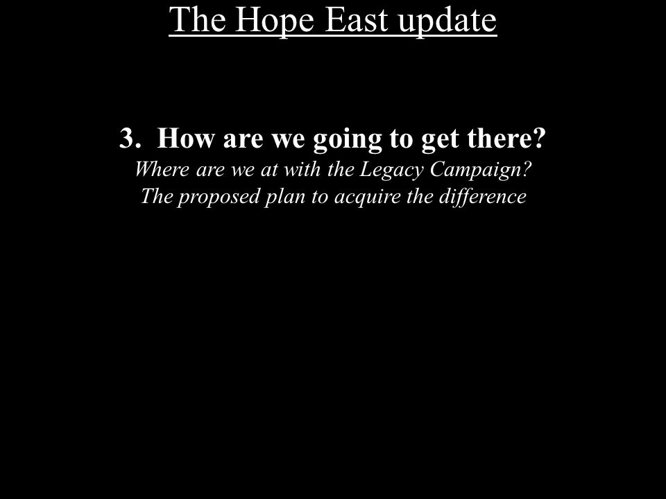 The Hope East update 3. How are we going to get there.