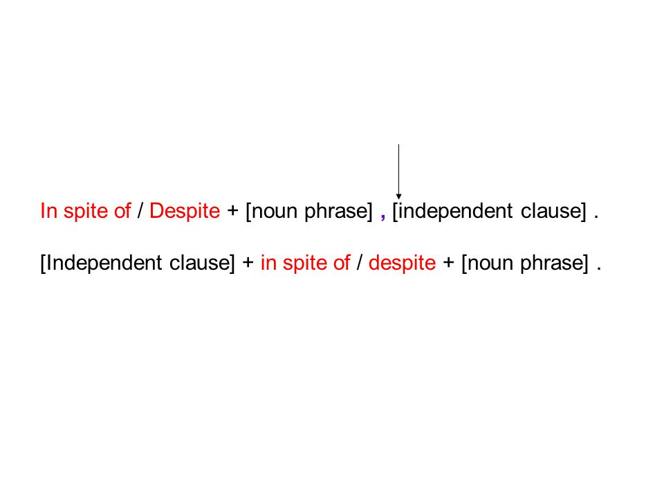 In spite of / Despite + [noun phrase], [independent clause].