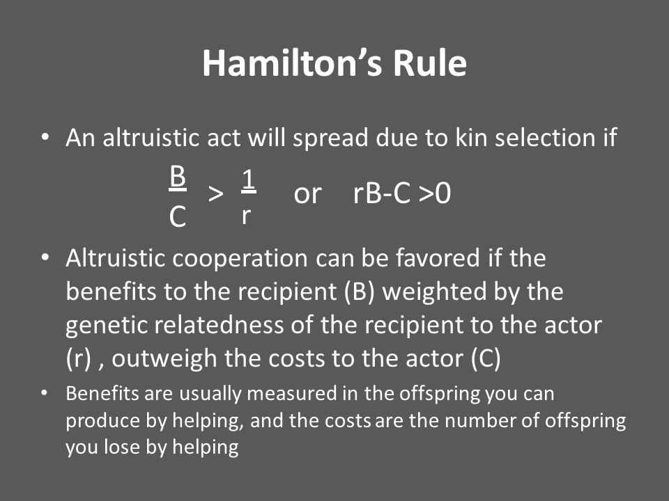 Hamilton's Rule An altruistic act will spread due to kin selection if Altruistic cooperation can be favored if the benefits to the recipient (B) weighted by the genetic relatedness of the recipient to the actor (r), outweigh the costs to the actor (C) Benefits are usually measured in the offspring you can produce by helping, and the costs are the number of offspring you lose by helping BCBC 1r1r > or rB-C >0