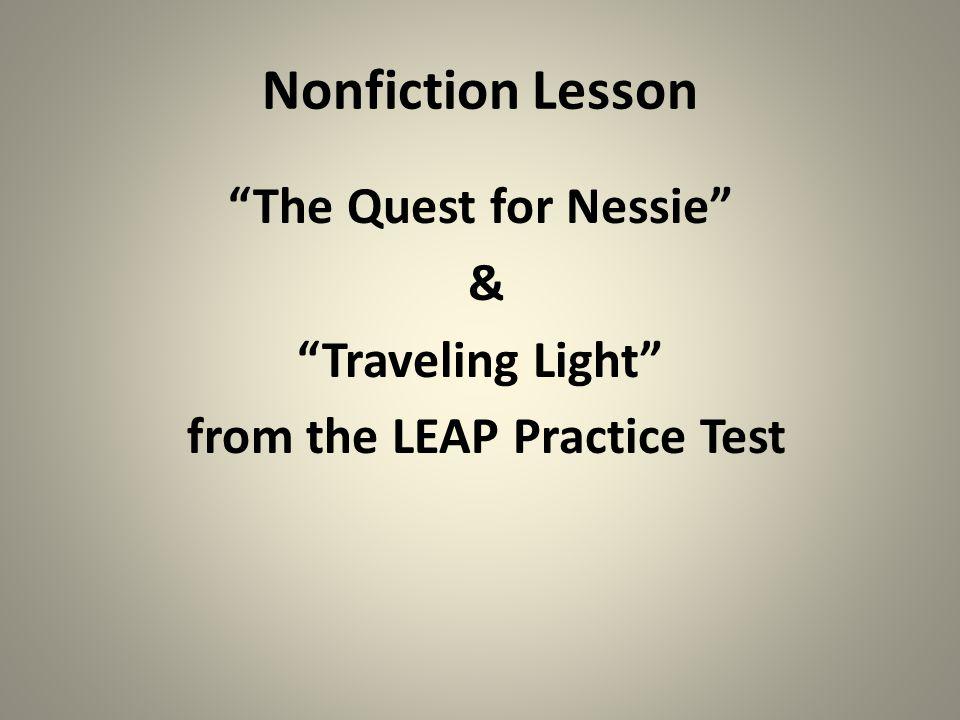 The Quest for Nessie Nonfiction Practice LEAP test
