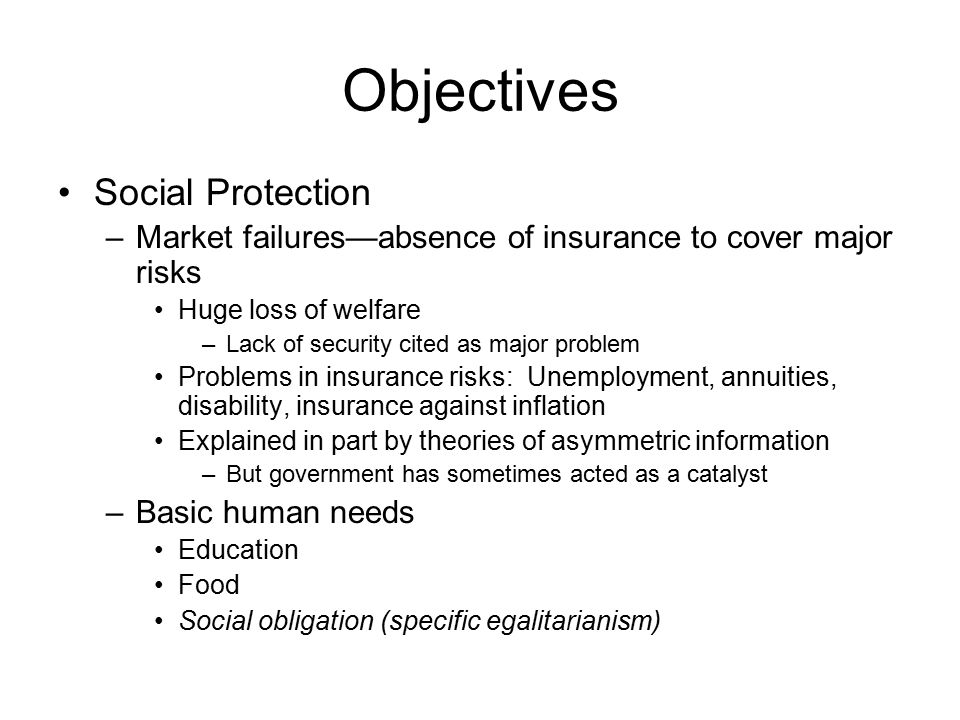 Objectives Social Protection –Market failures—absence of insurance to cover major risks Huge loss of welfare –Lack of security cited as major problem