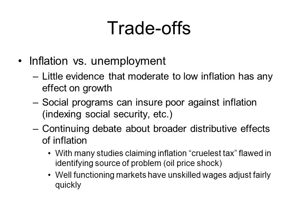 Trade-offs Inflation vs.