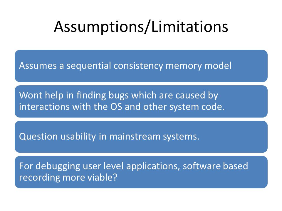 Assumptions/Limitations Assumes a sequential consistency memory model Wont help in finding bugs which are caused by interactions with the OS and other system code.
