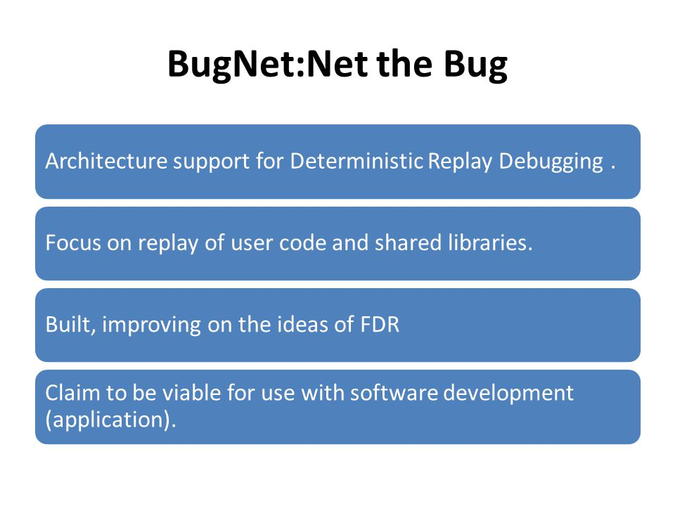 BugNet:Net the Bug Architecture support for Deterministic Replay Debugging.Focus on replay of user code and shared libraries.Built, improving on the ideas of FDR Claim to be viable for use with software development (application).