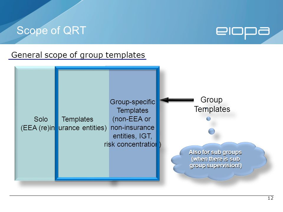 12 General scope of group templates Solo Templates (EEA (re)insurance entities) Solo Templates (EEA (re)insurance entities) Group-specific Templates (