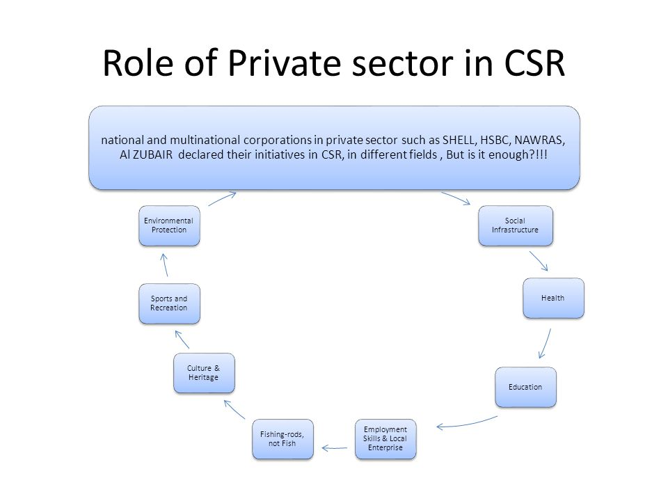 Role of Private sector in CSR national and multinational corporations in private sector such as SHELL, HSBC, NAWRAS, Al ZUBAIR declared their initiatives in CSR, in different fields, But is it enough?!!.