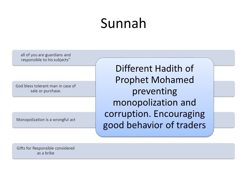 Sunnah Gifts for Responsible considered as a bribe Monopolization is a wrongful act God bless tolerant man in case of sale or purchase.