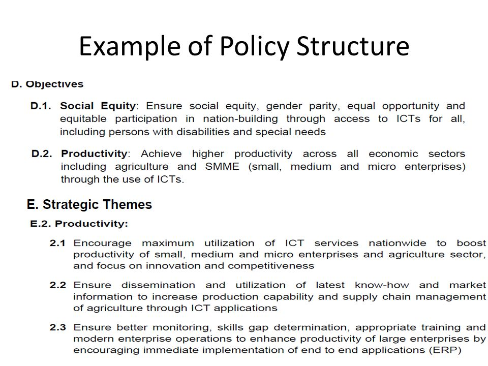 Example of Policy Structure 11