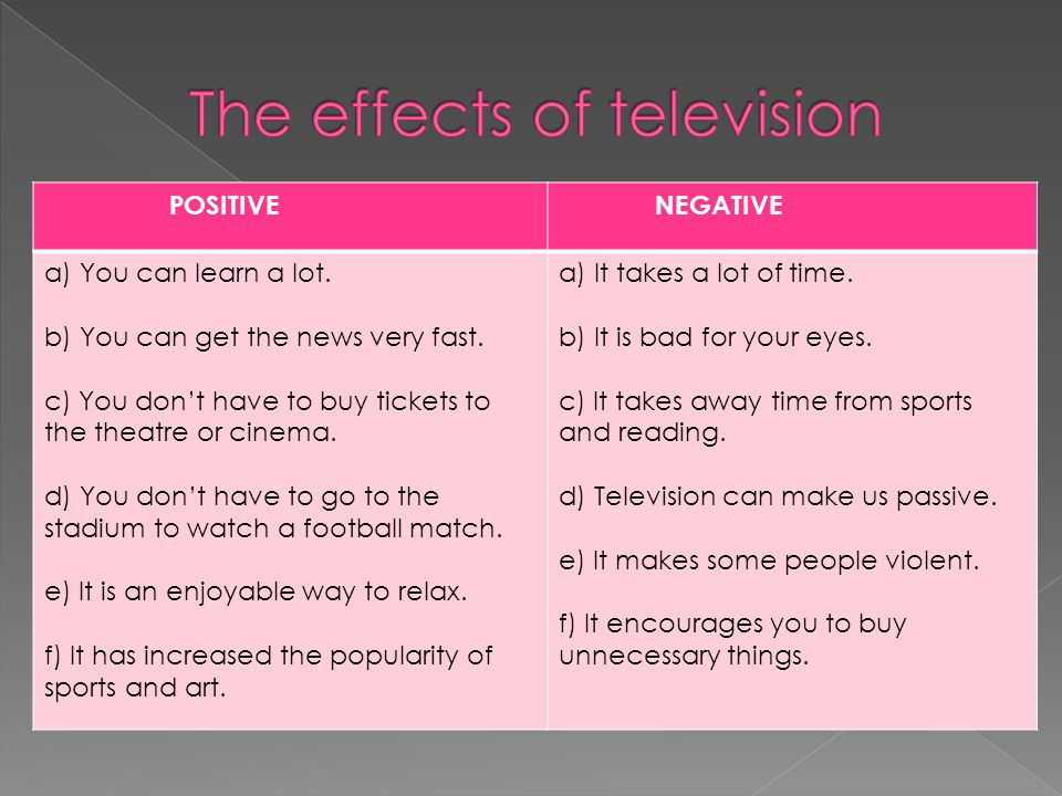 THE EFFECTS OF TV Negative effects of TV My favourite TV programme What can we do about dangers of TV Positive effects of TV