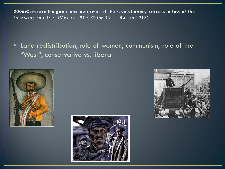 Land redistribution, role of women, communism, role of the West , conservative vs. liberal