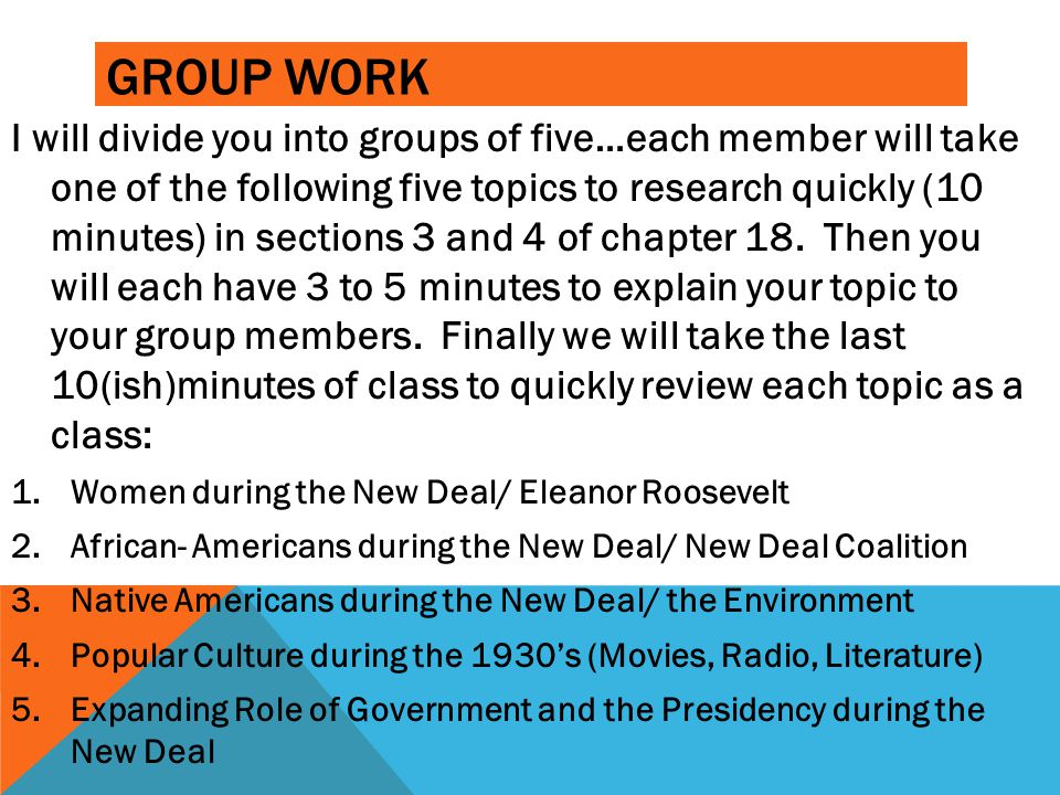 GROUP WORK I will divide you into groups of five…each member will take one of the following five topics to research quickly (10 minutes) in sections 3
