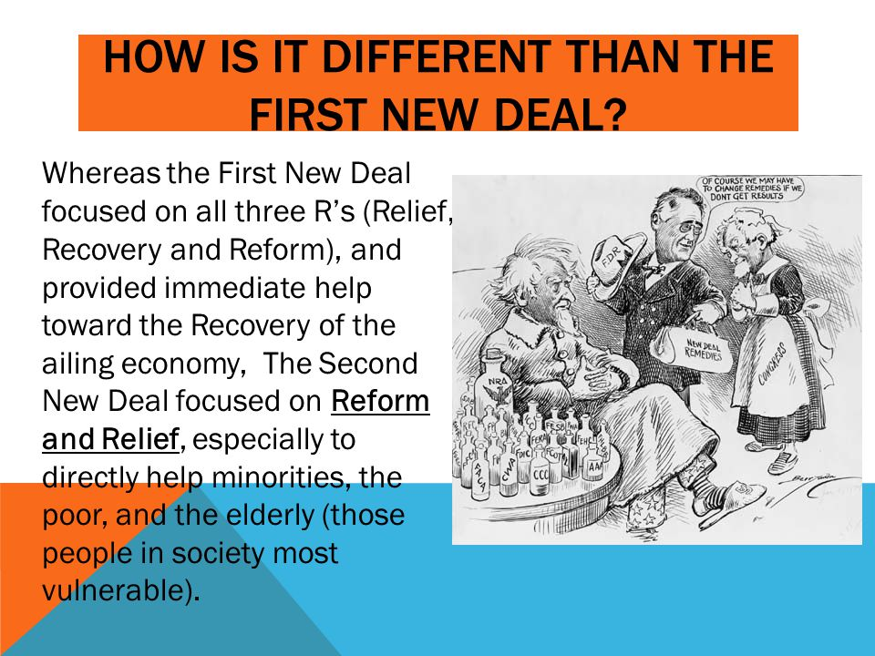HOW IS IT DIFFERENT THAN THE FIRST NEW DEAL? Whereas the First New Deal focused on all three R's (Relief, Recovery and Reform), and provided immediate
