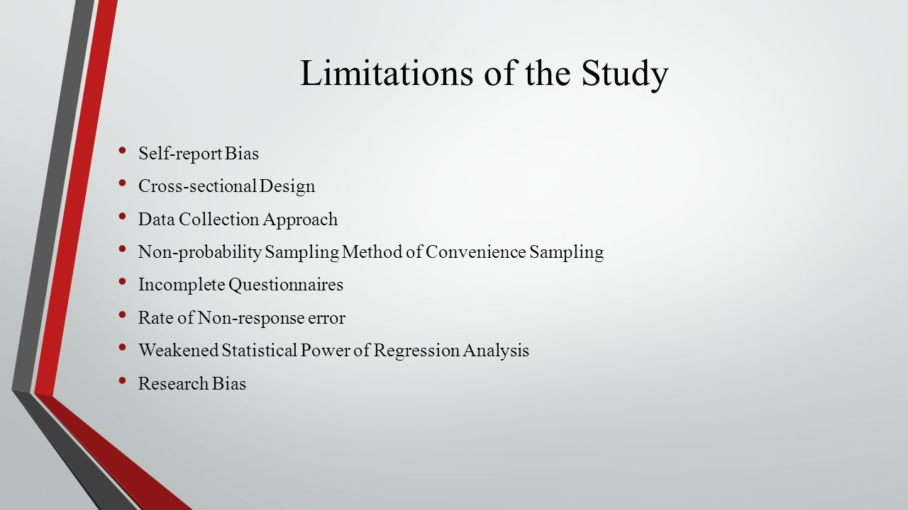 Limitations of the Study Self-report Bias Cross-sectional Design Data Collection Approach Non-probability Sampling Method of Convenience Sampling Incomplete Questionnaires Rate of Non-response error Weakened Statistical Power of Regression Analysis Research Bias