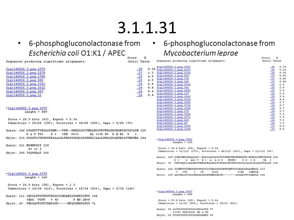 3.1.1.31 6-phosphogluconolactonase from Escherichia coli O1:K1 / APEC 6-phosphogluconolactonase from Mycobacterium leprae