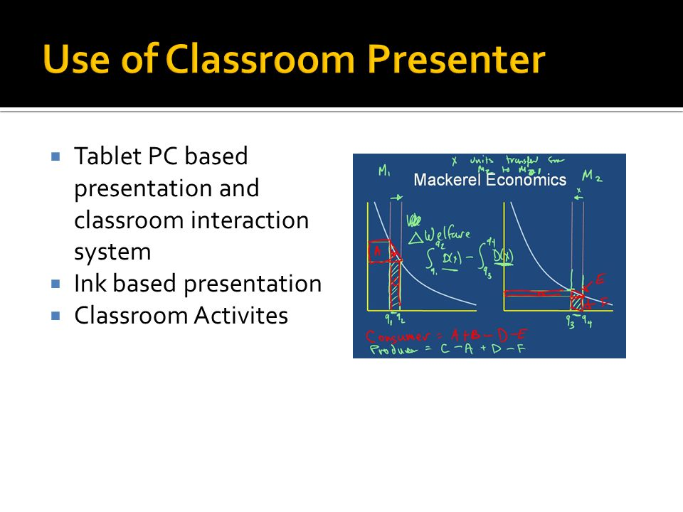  Tablet PC based presentation and classroom interaction system  Ink based presentation  Classroom Activites
