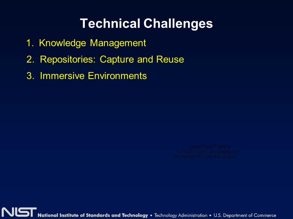 Technical Challenges 1. Knowledge Management 2. Repositories: Capture and Reuse 3. Immersive Environments