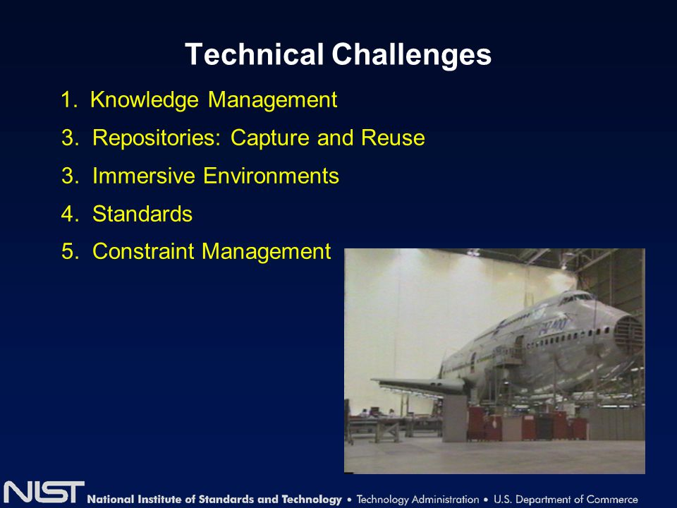 Technical Challenges 1. Knowledge Management 3. Repositories: Capture and Reuse 3. Immersive Environments 4. Standards 5. Constraint Management