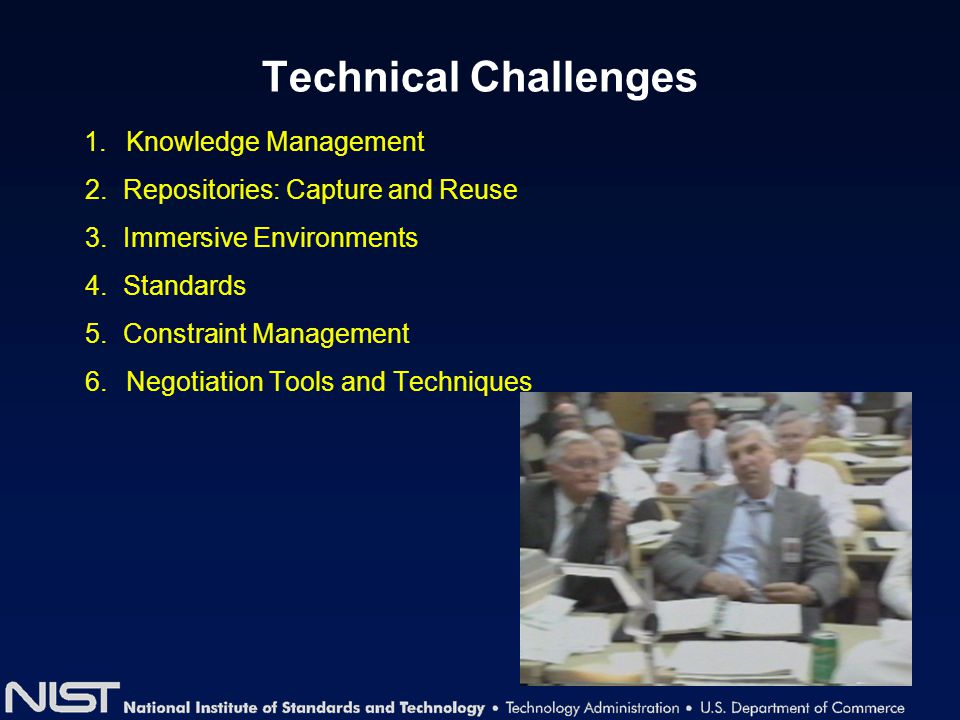 Technical Challenges 1. Knowledge Management 2. Repositories: Capture and Reuse 3. Immersive Environments 4. Standards 5. Constraint Management 6. Neg